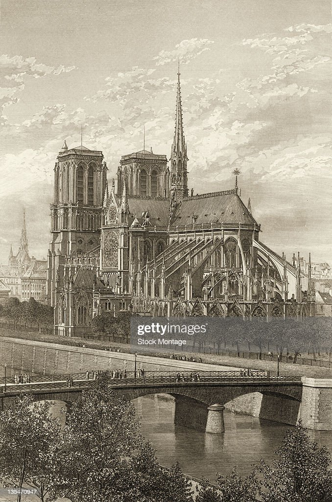 Engraving shows NotreDame Cathedral and the Seine River Paris France late 1870s
