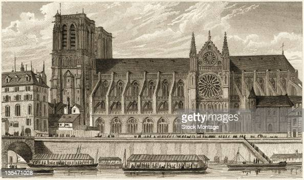 Engraving shows NotreDame Cathedral and the Seine River Paris France late 1820s