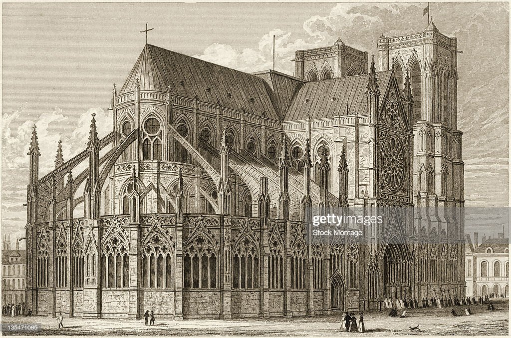 Engraving shows NotreDame Cathedral Paris France 1820s or 1830s