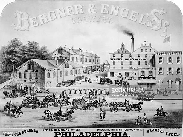 Engraving shows the bustle of activity around the Bergner Engel's Brewery Philadelphia late 19th Century Drivers whip horses as they deliver barrells...