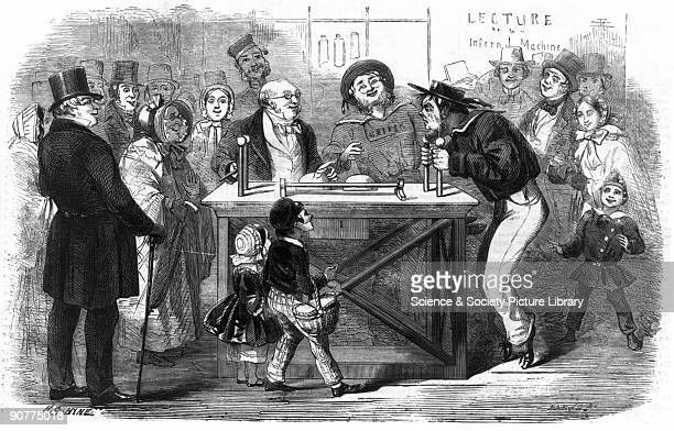 Engraving taken from the �Illustrated London News� Demonstrations of scientific discoveries became popular entertainment at institutions such as the...