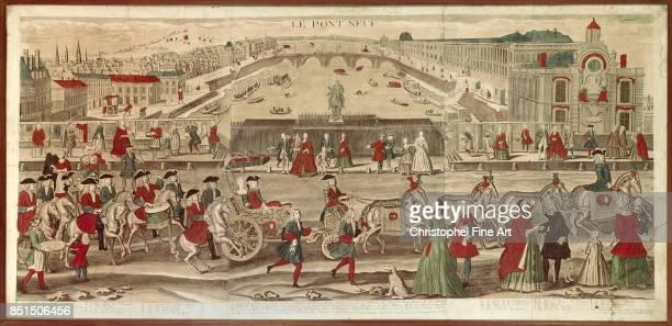 Engraving The Pont Neuf in Paris 18th century Paris Carnavalet Museum