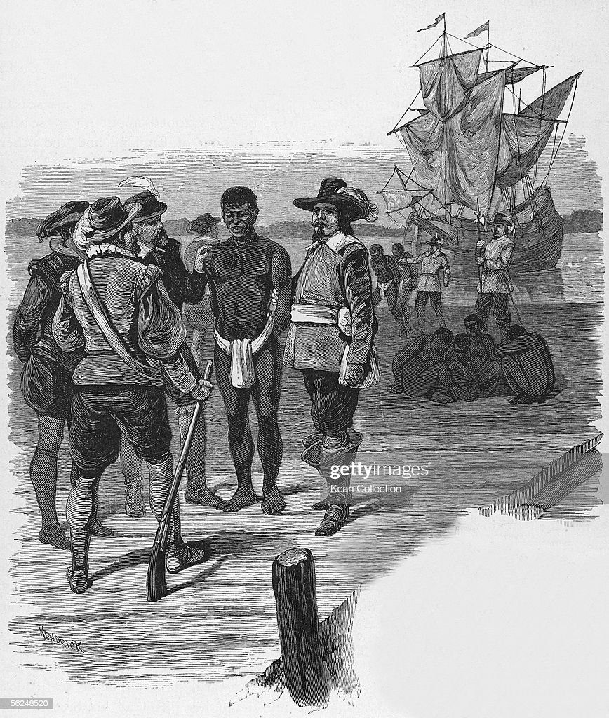Engraving, titled 'Introduction of Slavery,' shows a group of well-dressed men as they stand on a dock and examine a slave dressed in a loincloth, probably Jamestown, Virginia, late 1610s. More slaves sit on the dock in the background. The engraving is signed 'Kendrick.'