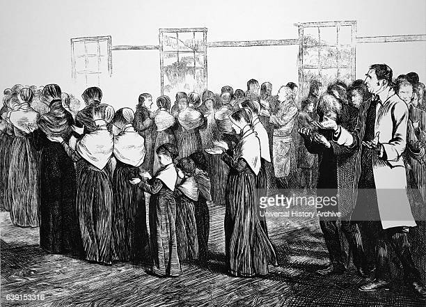 Engraving titled 'Shakers making their final procession from Meeting' the men and women are seen holding palms upwards to catch God's grace and...