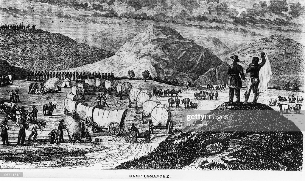Engraving with the caption 'Camp Comanche' depicting a wagon train formed into a circle as they bed down for the night taken from 'Commerce of the...