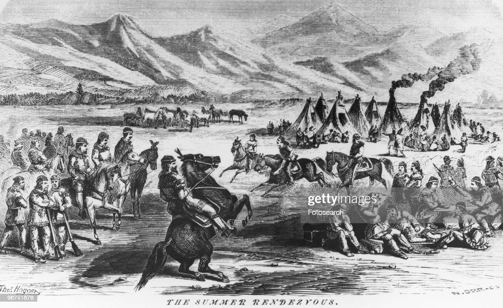 Engraving with the caption 'The Summer Rendezvous' the annual rendezvous between mountain men and fur company agents Oregon USA date unknown