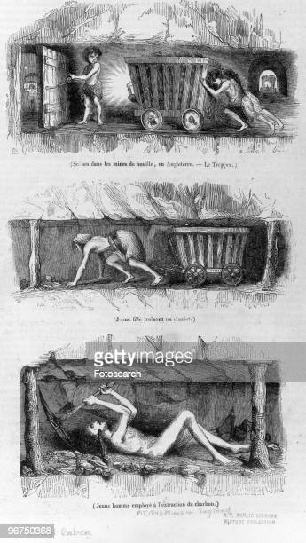 Engravings depicting child labour in the mines of England Date unknown