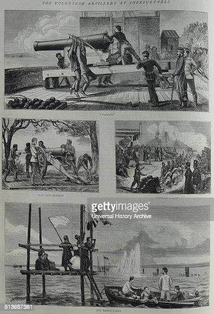 The Volunteer Artillery at Shoeburyness Shifting a Gun The East Battery The Range Party Dated 1870