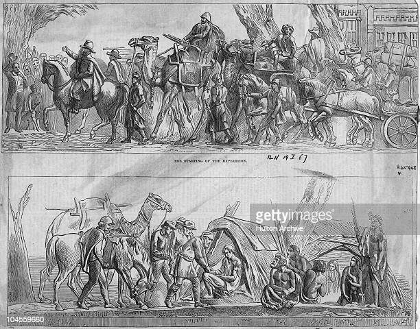 Engravings of the basrelief sculptures on the monument to explorers Robert O'Hara Burke and William John Wills in Melbourne circa 1865 In the top...