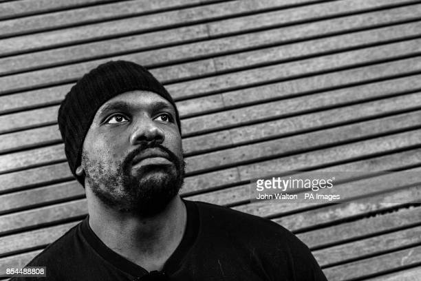 Enhanced in Photoshop converted to Black and White Dereck Chisora poses for the photographer after the head to head press conference at Fredericks...