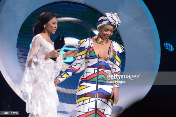 Enhle Mbali Mlotshwa and Thembisa Mdoda during the DStv Mzansi Viewers Choice Awards event at the Sandton Convention Centre on August 26 2017 in...