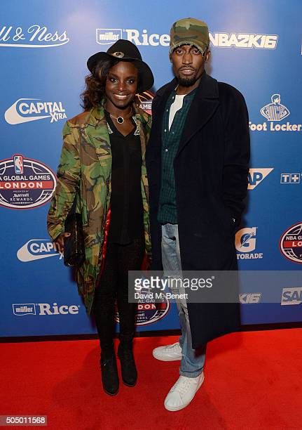 Eni Aluko and guest attend the Orlando Magic v Toronto Raptors NBA Global official after party at Building Six in The O2 Arena on January 14 2016 in...