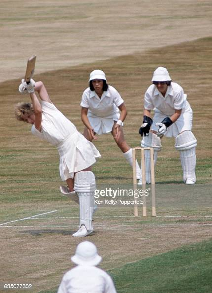 Enid Bakewell of England Women batting during the 2nd Test match between England Women and Australia Women at Edgbaston Birmingham 3rd July 1976 The...