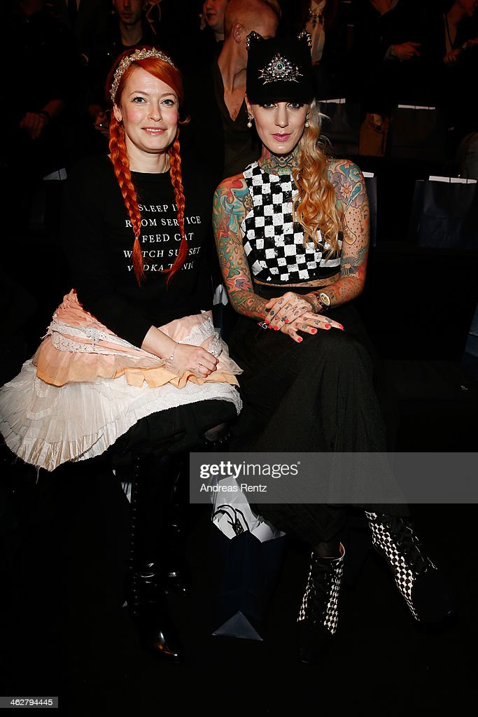 Enie van de Meiklokjes and Lexy Hell arrive for the Marcel Ostertag show during Mercedes-Benz Fashion Week Autumn/Winter 2014/15 at Brandenburg Gate on January 15, 2014 in Berlin, Germany.