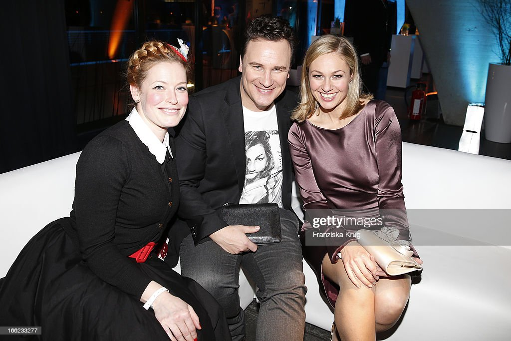 Enie van de Meiklokjes, Guido Maria Kretschmer and Ruth Moschner attend the Guido Maria Kretschmer For eBay Collection Launch at Label 2 on April 10, 2013 in Berlin, Germany.