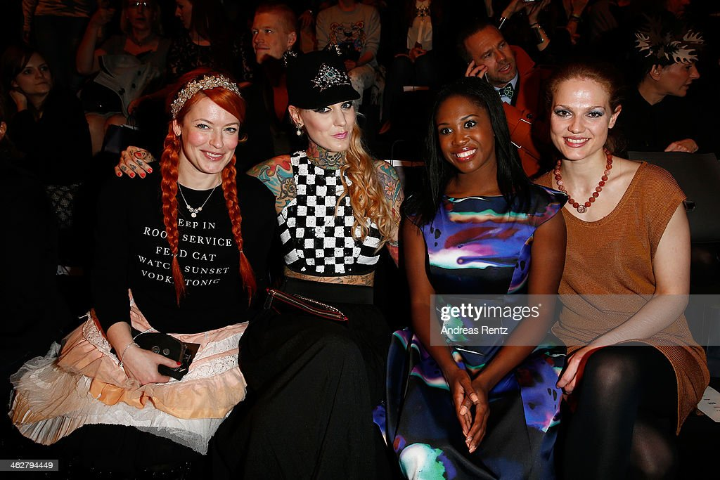 Enie van de Meiklokjes, Lexy Hell, Motsi Mabuse and Isabell Vinet attend the Marcel Ostertag show during Mercedes-Benz Fashion Week Autumn/Winter 2014/15 at Brandenburg Gate on January 15, 2014 in Berlin, Germany.
