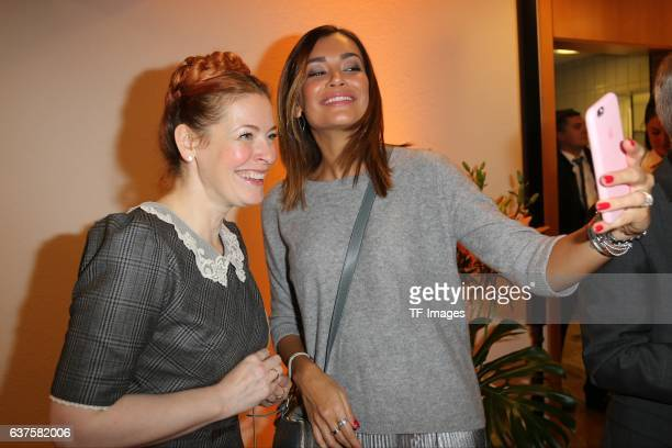 Enie van de Meiklokjes und Jana Ina Zarella attend the opening of the City Outlet Geislingen on October 27 2016 in Geislingen Germany