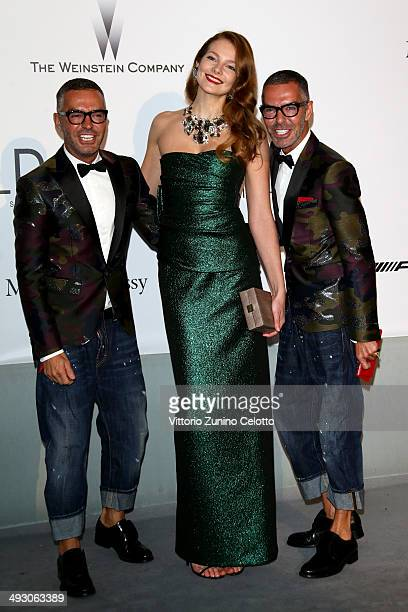 Eniko Mihalik and Dan Caten and Dean Caten attend amfAR's 21st Cinema Against AIDS Gala Presented By WORLDVIEW BOLD FILMS And BVLGARI at Hotel du...