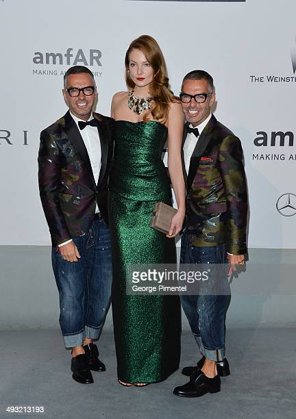 MAY 22 Eniko Mihalik Dan Caten and Dean Caten attend amfAR's 21st Cinema Against AIDS Gala Presented By WORLDVIEW BOLD FILMS And BVLGARI at Hotel du...