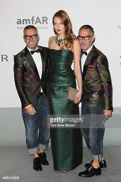 Eniko Mihalik Dan Caten and Dean Caten attend amfAR's 21st Cinema Against AIDS Gala Presented By WORLDVIEW BOLD FILMS And BVLGARI at the 67th Annual...