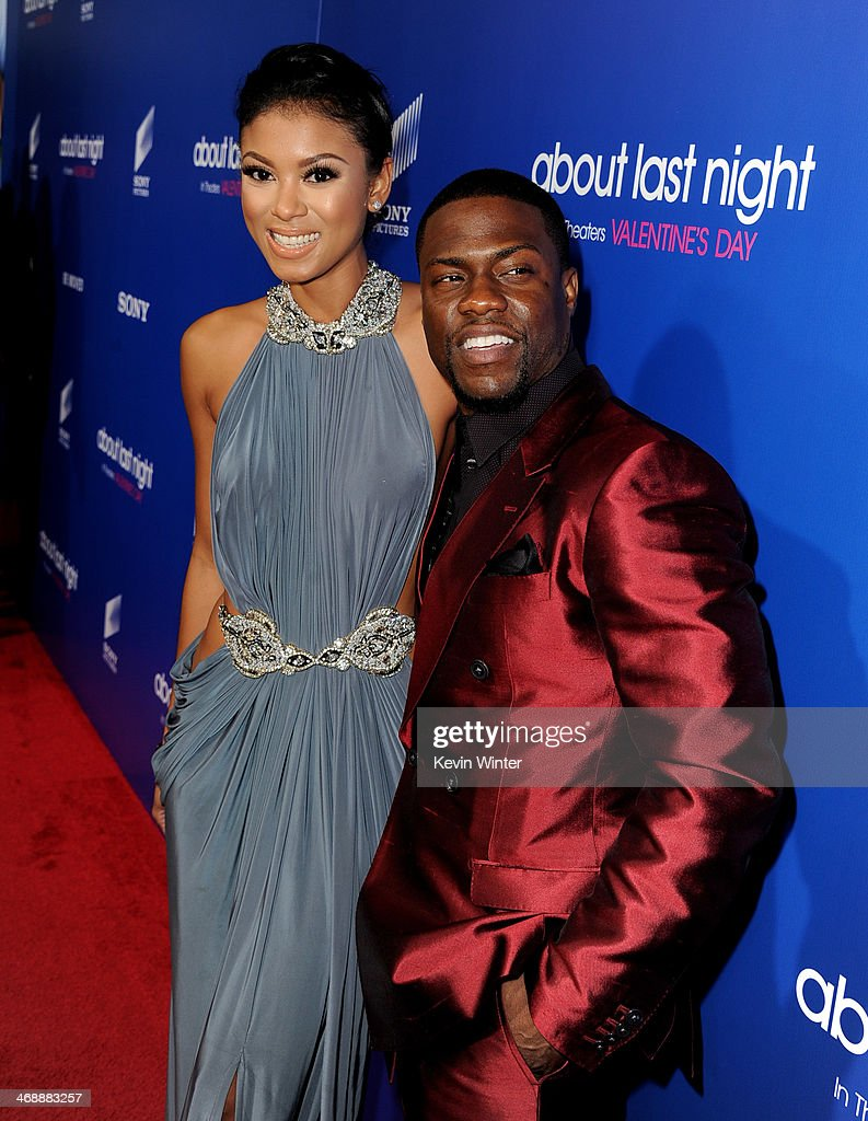 Eniko Parish (L) and actor Kevin Hart arrive at the Pan African Film & Arts Festival Premiere of Screen Gems' 'About Last Night' at the Cinerama Dome Theatre on February 11, 2014 in Los Angeles, California.