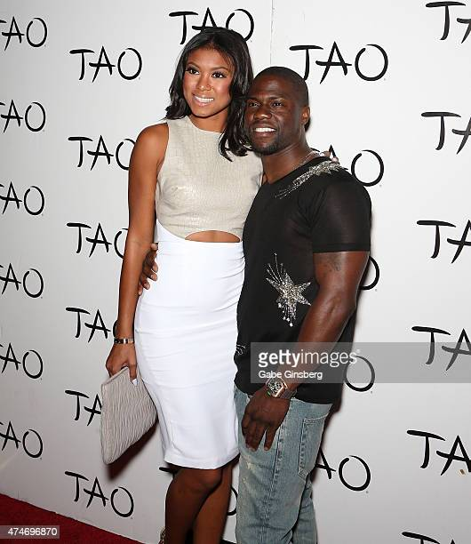 Eniko Parrish and her fiance comedian/actor Kevin Hart arrive at Tao Nightclub at The Venetian Las Vegas on May 24 2015 in Las Vegas Nevada