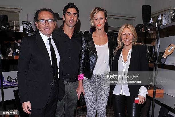Enio Silla Filippo Magnini Federica Pellegrini and Monica Ciabattini attend Le Silla Presentation during Milan Fashion Week Womenswear Fall/Winter...
