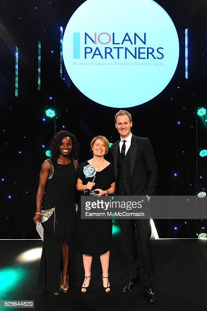 Eniola Aluko and Dan Walker present the Leadership in Sport Award award in association with Nolan Partners to Kelly Simmons at the BT Sport Industry...