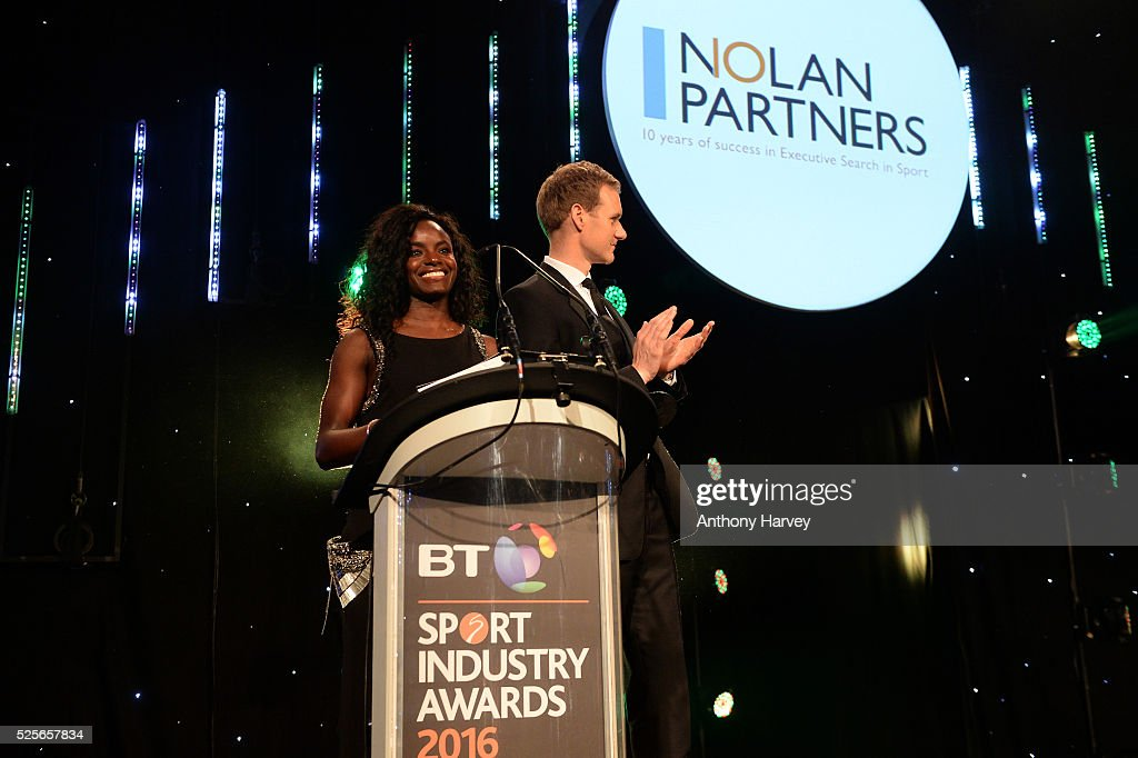 Eniola Aluko and Dan Walker present the Leadership in Sport Award award in association with Nolan Partners to Kelly Simmons at the BT Sport Industry Awards 2016 at Battersea Evolution on April 28, 2016 in London, England. The BT Sport Industry Awards is the most prestigious commercial sports awards ceremony in Europe, where over 1750 of the industry's key decision-makers mix with high profile sporting celebrities for the most important networking occasion in the sport business calendar.