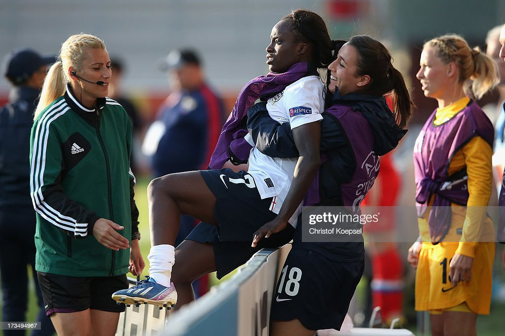 Eniola Aluko and Dunia Susi of England celebrate the goal of Toni Duggan (not in the picture) during the UEFA Women's EURO 2013 Group C match between England and Russia at Linkoping Arena on July 15, 2013 in Linkoping, Sweden. The match between England and Russia ended 1-1.