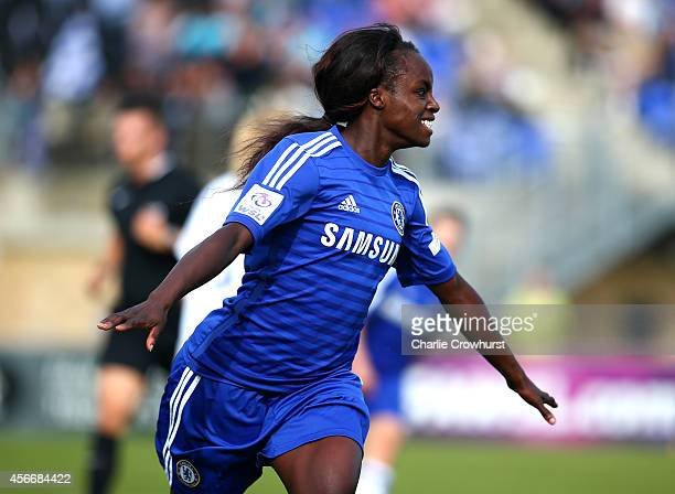 Eniola Aluko of Chelsea celebrates after scoring her first goal and the teams second during the FA WSL match between Chelsea Ladies and Everton...