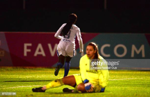 Eniola Aluko of Chelsea celebrates after she scores to make it 10 during a Continental Tyres Cup match between Bristol City Women and Chelsea Ladies...