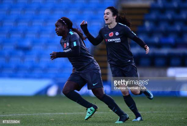 Eniola Aluko of Chelsea celebrates after she scores to make it 21 during the FA WSL match between Reading Women and Chelsea Ladies at Adams Park on...