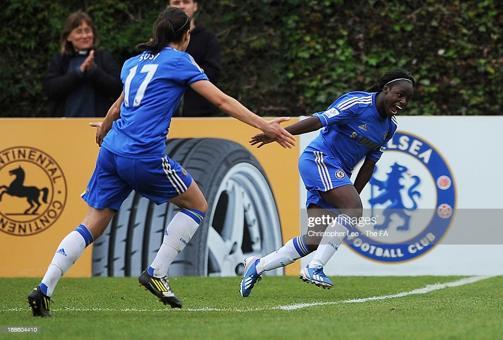<a gi-track='captionPersonalityLinkClicked' href=/galleries/search?phrase=Eniola+Aluko&family=editorial&specificpeople=234686 ng-click='$event.stopPropagation()'>Eniola Aluko</a> of Chelsea celebrates scoring their second goal during the FA WSL match batween Chelsea Ladies FC and Liverpool Ladies FC at Wheatsheaf Park on May 12, 2013 in Staines, England.