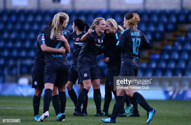 Eniola Aluko of Chelsea celebrates with her tea mates after she scores to make it 21 during the FA WSL match between Reading Women and Chelsea Ladies...
