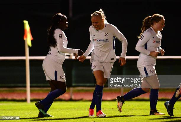 Eniola Aluko of Chelsea celebrates with her team mates after she scores to make it 10 during a Continental Tyres Cup match between Bristol City Women...