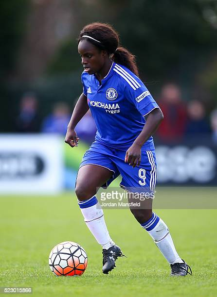 Eniola Aluko of Chelsea in action during the SSE Women's FA Cup Semifinal match between Chelsea Ladies FC v Manchester City Women at Wheatsheaf Park...