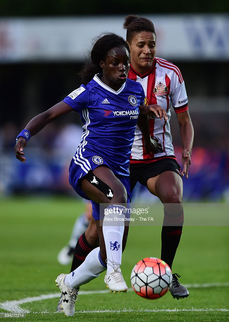 Eniola Aluko of Chelsea Ladies FC and Victoria Williams of Sunderland Ladies vie for the ball during the FA WSL 1 match between Chelsea Ladies FC and Sunderland Ladies at Wheatsheaf Park on May 25, 2016 in Staines, England.