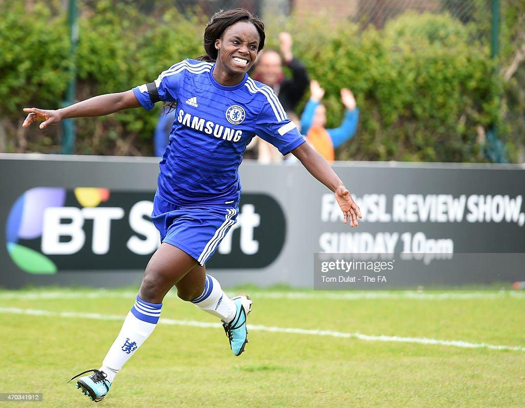 Eniola Aluko of Chelsea Ladies FC celebrates scoring a goal during the FA Women's Super League match between Chelsea Ladies FC and Liverpool Ladies...