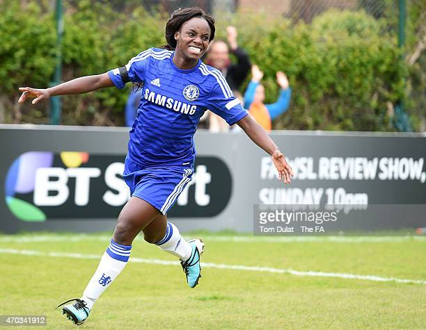 Eniola Aluko of Chelsea Ladies FC celebrates scoring a goal during the FA Women's Super League match between Chelsea Ladies FC and Liverpool Ladies...