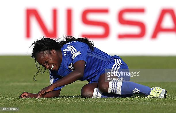Eniola Aluko of Chelsea Ladies shows her dejection at the final whistle during the WSL match between Manchester City Women and Chelsea Ladies at the...