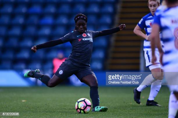 Eniola Aluko of Chelsea scores to make it 21 during the FA WSL match between Reading Women and Chelsea Ladies at Adams Park on October 12 2017 in...