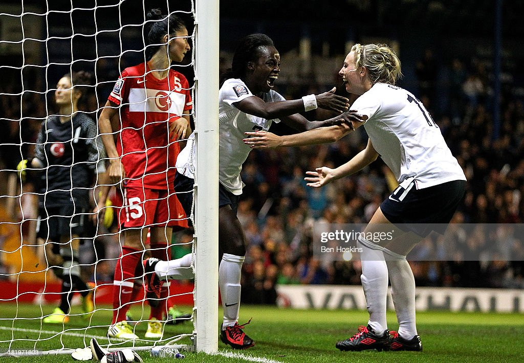 <a gi-track='captionPersonalityLinkClicked' href=/galleries/search?phrase=Eniola+Aluko&family=editorial&specificpeople=234686 ng-click='$event.stopPropagation()'>Eniola Aluko</a> of England celebrates after scoring a goal during the FIFA Women's World Cup 2015 Group 6 Qualifier match between England and Turkey at Fratton Park on September 26, 2013 in Portsmouth, England.