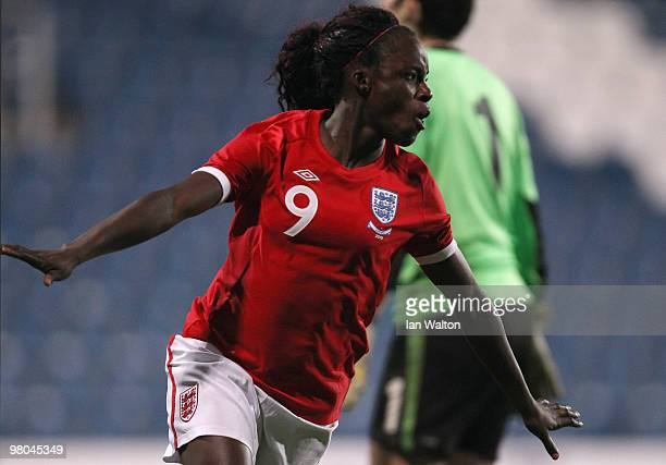 Eniola Aluko of England celebrates after scoring a goal during the Womens World Cup Qualifier between England and Austria at Loftus Road on March 25...
