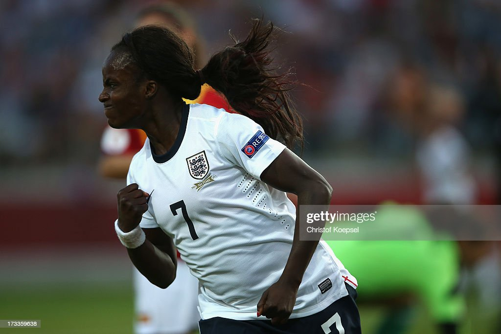 Eniola Aluko of England celebrates the first goal during the UEFA Women's EURO 2013 Group C match between England and Spain at Linkoping Arena on July 12, 2013 in Linkoping, Sweden.
