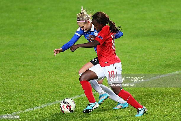 Eniola Aluko of England controls the ball during the UEFA Women's Euro 2017 Qualifier match between Estonia and England at A Le Coq Arena on...