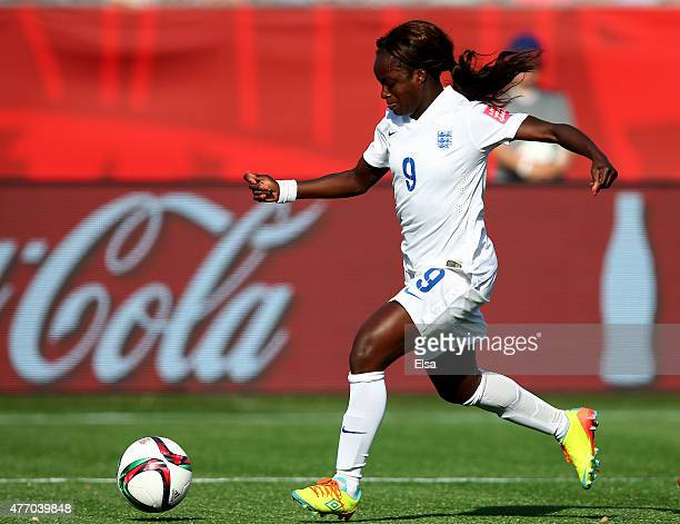 Eniola Aluko of England drives to the net in the second half against Mexico during the FIFA Women's World Cup 2015 Group F match at Moncton Stadium...