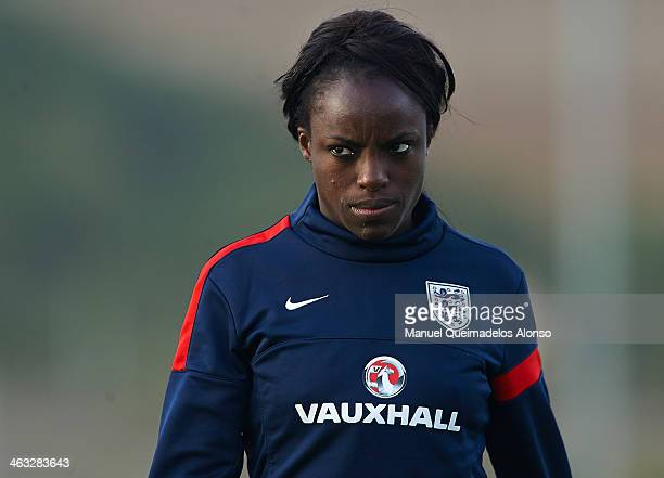 Eniola Aluko of England looks on after the friendly match between England and Norway at la Manga Club on January 17 2014 in La Manga Spain