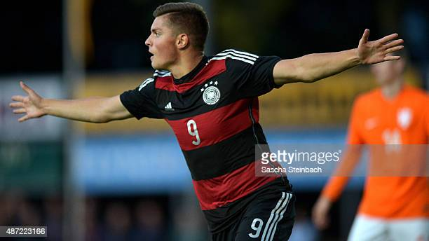 Enis Bunjaki of Germany celebrates after scoring the opening goal during the U19 international friendly match between Netherlands and Germany on...
