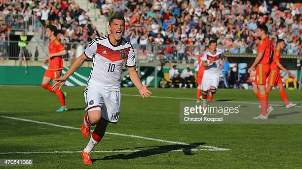 Enis Bunjaki of Germany celebrates the first goal scoring by penalty during the U18 international friendly match between Germany and Wales at...